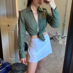 💚Army green button down longsleeve collared shirt